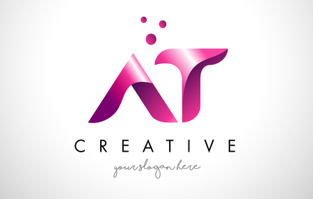 AT Letter Logo Design Template with Purple Colors and Dots Stock Vector - 74562954