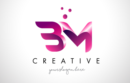 BM Letter Logo Design Template with Purple Colors and Dots