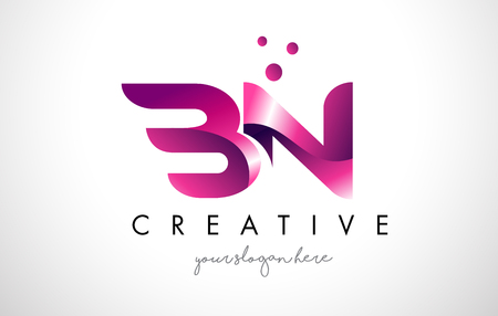 BN Letter Logo Design Template with Purple Colors and Dots