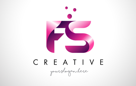 FS Letter Logo Design Template with Purple Colors and Dots