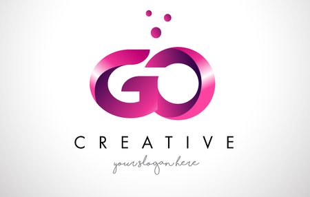 GO Letter Logo Design Template with Purple Colors and Dots
