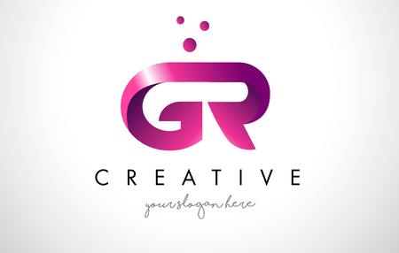 gr: GR Letter Logo Design Template with Purple Colors and Dots Illustration