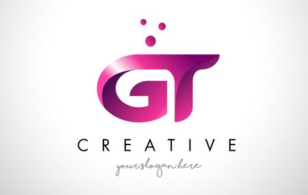 Modèle de conception de Logo lettre GT avec des couleurs et des points pourpres