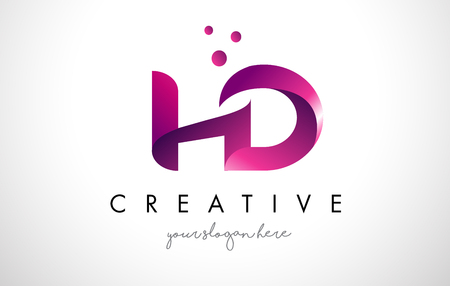 HD Letter Logo Design Template with Purple Colors and Dots Illustration