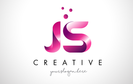 JS Letter Logo Design Template with Purple Colors and Dots 矢量图像