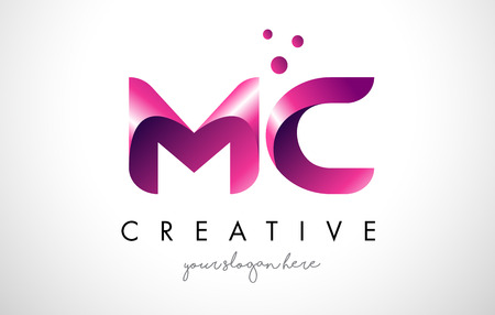 MC Letter Logo Design Template with Purple Colors and Dots Illustration