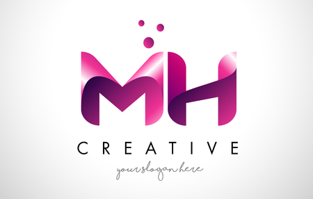 MH Letter Logo Design Template with Purple Colors and Dots
