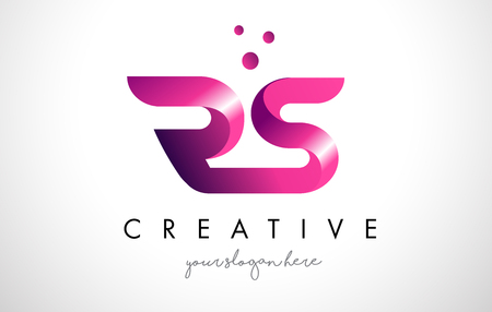 RS Letter Logo Design Template with Purple Colors and Dots Logó
