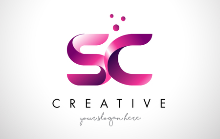 SC Letter Logo Design Template with Purple Colors and Dots Ilustracja