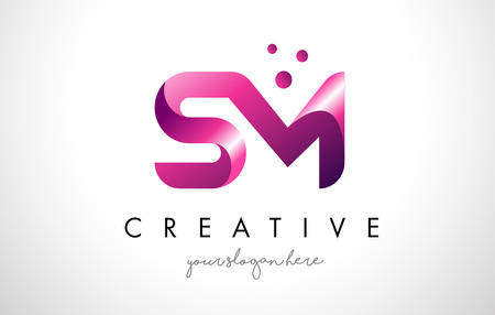 SM Letter Logo Design Template with Purple Colors and Dots