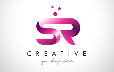 SR Letter Logo Design Template with Purple Colors and Dots