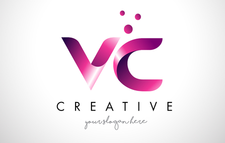 VC Letter Logo Design Template with Purple Colors and Dots