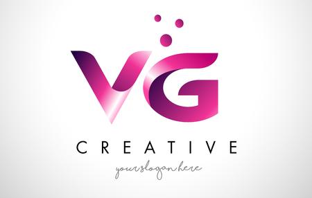 퍼플 컬러와 점이있는 VG 레터 로고 디자인 템플릿 일러스트