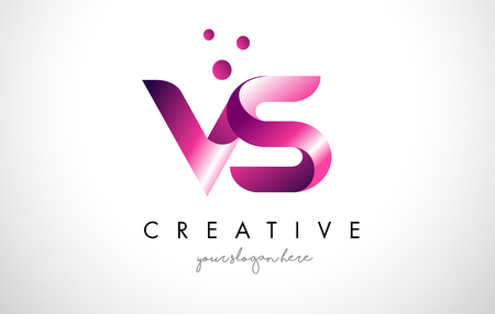 VS Letter Logo Design Template with Purple Colors and Dots