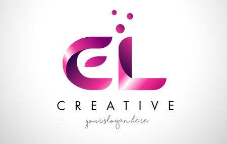 EL Letter Logo Design Template with Purple Colors and Dots