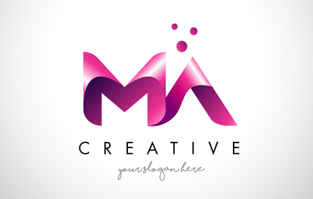 MA Letter Logo Design Template with Purple Colors and Dots