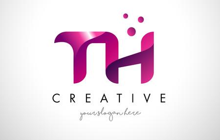 TH Letter Logo Design Template with Purple Colors and Dots Illusztráció