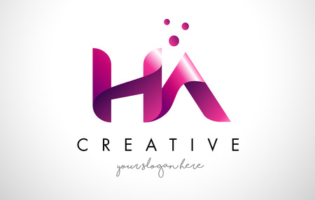 HA Letter Logo Design Template with Purple Colors and Dots