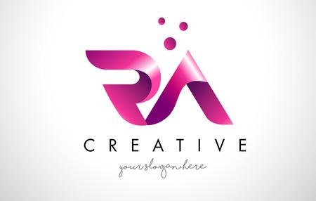 RA-Buchstabe-Logo-Design-Schablone mit purpurroten Farben und Punkten