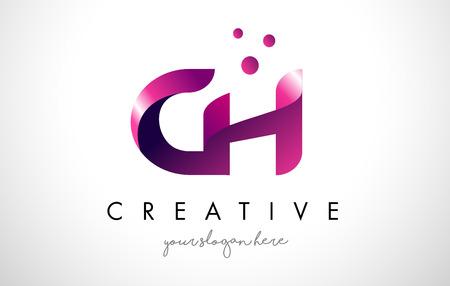 Plantilla del diseño del logotipo de la letra de CH con colores y puntos púrpuras