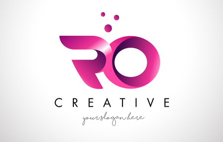 RO Letter Logo Design Template with Purple Colors and Dots