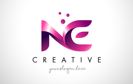 ne: NE Letter Logo Design Template with Purple Colors and Dots