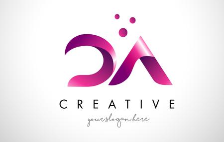 紫の色とドットで DA 文字ロゴ デザイン テンプレート