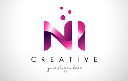 NI Letter Logo Design Template with Purple Colors and Dots