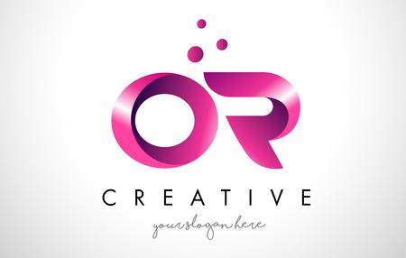 OU Modèle de conception de logo lettre avec couleurs et points violets