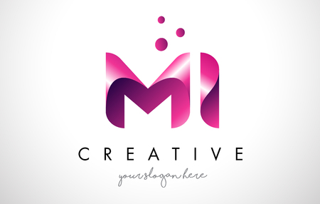 MI Letter Logo Design Template with Purple Colors and Dots