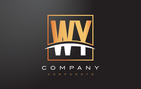 와우 WY 황금 편지 로고 디자인 Swoosh 및 사각형 사각형 상자 벡터 디자인.