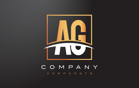 ag: AG A G Golden Letter Logo Design with Swoosh and Rectangle Square Box Vector Design. Illustration
