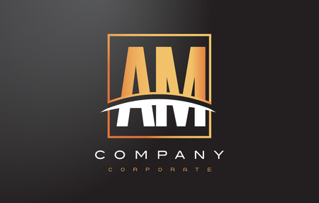 AM A M Golden Letter Logo Design with Swoosh and Rectangle Square Box Vector Design.