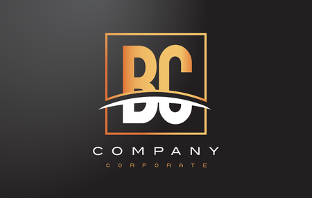 BC B C Golden Letter Logo Design with Swoosh and Rectangle Square Box Vector Design. Vectores