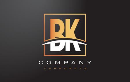 BK B K Golden Letter Logo Design with Swoosh and Rectangle Square Box Vector Design. Ilustração