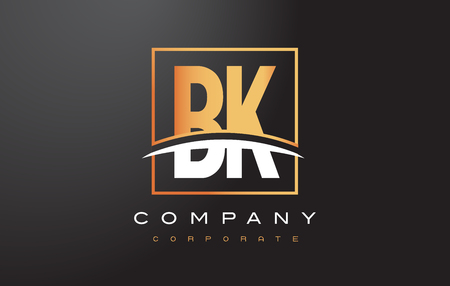 BK B K Golden Letter Logo Design with Swoosh and Rectangle Square Box Vector Design. Illustration