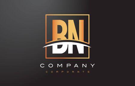 bn: BN B N Golden Letter Logo Design with Swoosh and Rectangle Square Box Vector Design. Illustration