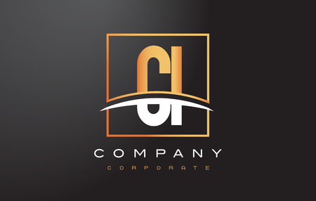 CI C I Golden Letter Logo Design with Swoosh and Rectangle Square Box Vector Design.