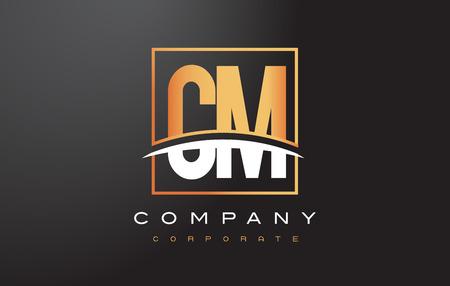 cm: CM C M Golden Letter Logo Design with Swoosh and Rectangle Square Box Vector Design. Illustration