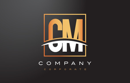 CM C M Golden Letter Logo Design with Swoosh and Rectangle Square Box Vector Design. Illustration