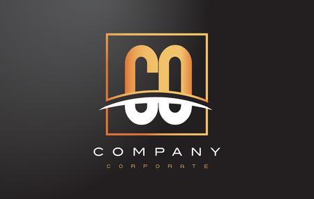 CO C O Golden Letter Logo Design with Swoosh and Rectangle Square Box Vector Design. Illustration