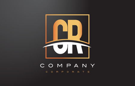cr: CR C R Golden Letter Logo Design with Swoosh and Rectangle Square Box Vector Design.