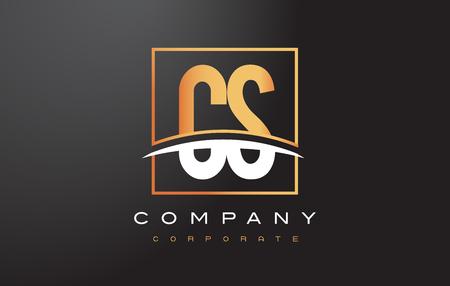 cs: CS C S Golden Letter Logo Design with Swoosh and Rectangle Square Box Vector Design. Illustration