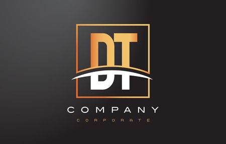 DT D T Golden Letter Logo Design with Swoosh and Rectangle Square Box Vector Design.
