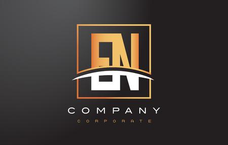gold en: EN E N Golden Letter Logo Design with Swoosh and Rectangle Square Box Vector Design.