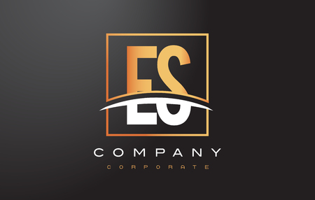 ES E S Golden Letter Logo Design with Swoosh and Rectangle Square Box Vector Design.