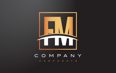 FM F M Golden Letter Logo Design with Swoosh and Rectangle Square Box Vector Design.