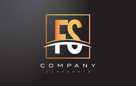 FS F S Golden Letter Logo Design with Swoosh and Rectangle Square Box Vector Design. Banco de Imagens - 74938468