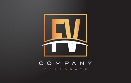 fv: FV F V Golden Letter Logo Design with Swoosh and Rectangle Square Box Vector Design. Illustration