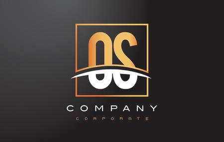 logos de empresas: OS OS Golden Letter Logo Diseño con Swoosh y Cuadrado rectángulo Diseño vectorial Caja.